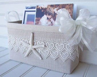 Coastal basket with starfish and lace for cards and photos