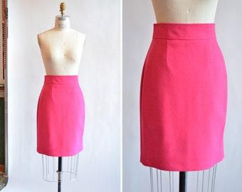 Vintage PINK wool pencil skirt