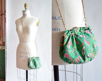 Vintage 1960s PAISLEY cotton shoulder bag