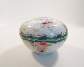 Vintage Hair Receiver White China with Flowers Gold Trim Vanity Dresser