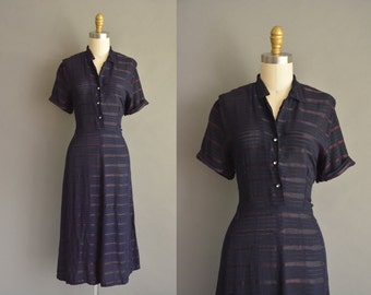 vintage 1950s navy blue ribbon stripe dress. vintage 1950s cotton dress