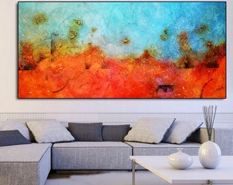 Orange blue Abstract Painting Print, orange Print, Large art print, red blue art, large blue art, wall art print, canvas print blue red