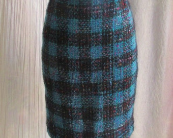 Vintage 80s 90s Plaid Pencil Skirt High Waist, Fuzzy Wool Blend, Preppy, Teal Black Purple, Size 6