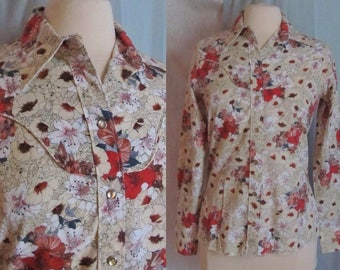 Vintage Western Top Blouse, Pearl Snaps, Floral, Wrangler, Rodeo, Cowgirl Chic, 60s 70s