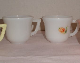 Hazel Atlas Children's Cups. Yellow and Pink. White Milk Glass. White Milk Glass with Decal