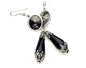 Black Magic- Swarovski Black Patina Crystal Drop Earrings, Black Teardrop Earrings, Victorian Gothic Earrings