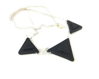 Black triangle necklace polymer clay with silver chain