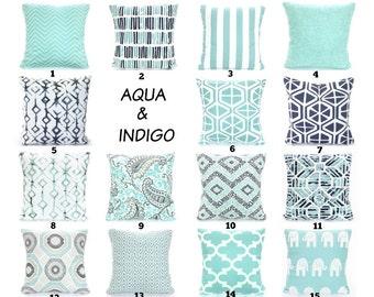 Aqua Navy Throw Pillow Covers Cushions Decorative Throw Pillows Pastel Aqua  Indigo Navy Taupe White Couch