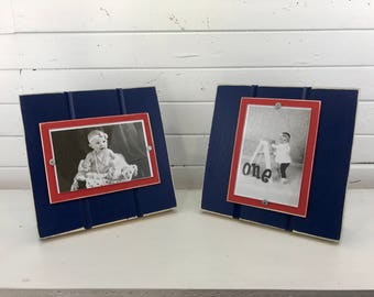 "Navy Blue and Red table top picture frame holds one 4""x 6"" photo. Cleveland Indians, Washington Nationals, Atlanta Hawks, New Jersey Nets"