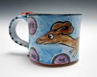 Small Petite Ceramic Coffee Mug - Pottery Mug - Brown Dachshund Wiener Dog - Blue - Majolica mug - 10 ounces oz - Clay Tea Cup - Doxie Mug