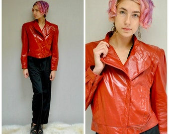 Cropped Leather Jacket // Red Leather Jacket // THE THRILLER