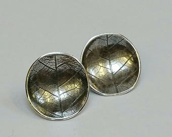 Sterling silver handmade leaf print stud earrings, hallmarked in Edinburgh