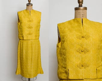 vintage 1960s embossed golden top and skirt set