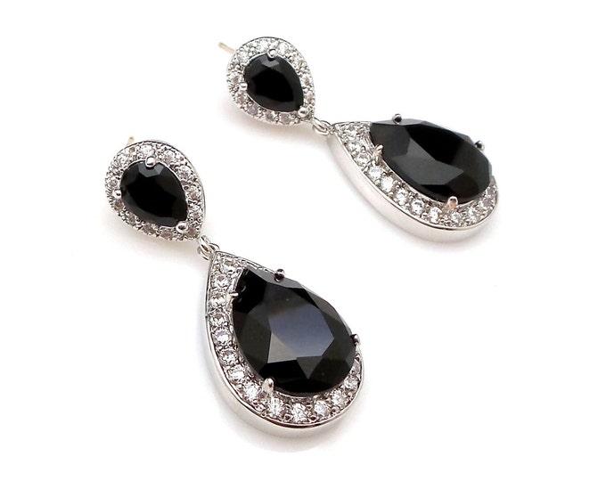 wedding bridal earrings jewelry christmas prom party bridesmaid gift Clear white teardrop cubic zirconia swarovski jet black crystal cz post