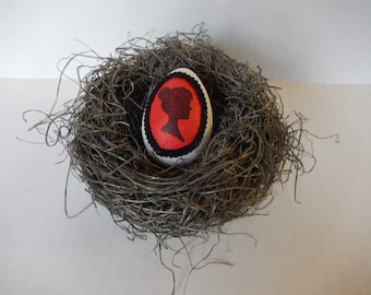 Red Cameo Bird Nest with Hand Decorated Silhouette Egg Valentines Decor