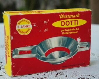 Vintage 60s-70s Dotti German metal Egg Separator In Box with Manual/Bakeware/Kitchen Tool/Gadget/Retro/Mid Century