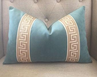 "Decorative Designer Pillow Cover - 12""x18"" - in Aqua velvet with attached 2.5"" greek key trim"