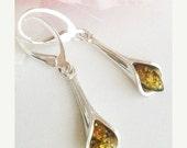20% OFF SALE Amber Earrings - Silver drop earrings - Genuine Amber Earrings - Teardrop Lily Earrings - 925 Sterling Silver Jewelry - Free Sh