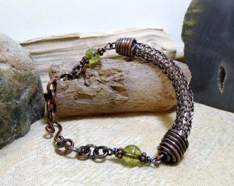 Green Tourmaline Antique Copper Viking Knit Bracelet size 6 - 6 3/4