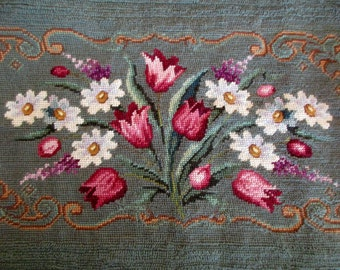 vintage NEEDLEPOINT piano bench cover -  flowers, daisies, tulips, pink, white, blue, petit point