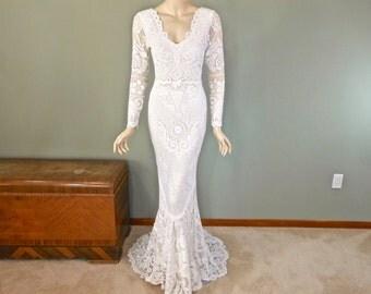 RESERVED Alex Off White Lace Wedding Dress LONG Sleeve Boho Wedding Dress Vintage Inspired Wedding Dress BOHEMIAN Wedding Dress Sz Small