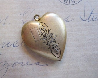 vintage Dunn Bros. gold filled locket - gold filled HEART locket- 1 x 1.125 inches