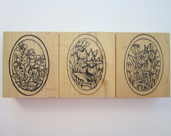 3 rubber stamps - Flowers in ovals - Northwoods Rubber Stamps 2009