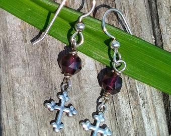 Sterling Silver & Garnet Cross Earrings