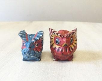 Vintage wooden owls, vintage owls, wood owls, hand carved owls, vintage wooden bird, hand painted owls, vintage hand carved owls, wood bird