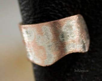 Ear cuff, brushed copper ear cuff, jewelry gifts, brushed silver ear cuff,  no pierce ear cuff, small earrings, tiny ear cuff, gifts for her