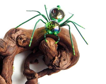 Large Green Spider, Wire Art Spider, Three Inch Plus Wire Spider, Hanging Green Spider, Spider Ornament, Arachnid Gift for Spider Lover