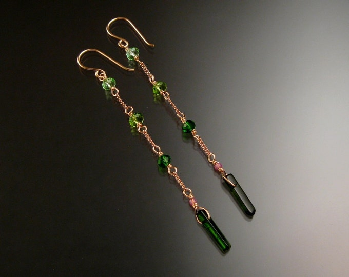 Tourmaline crystal and cut glass crystal Earrings set in Rose Gold filled