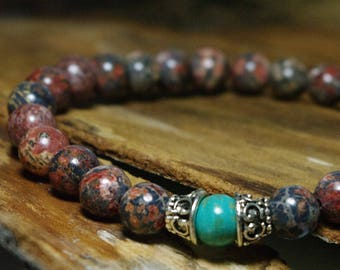 Meditation Bracelet - Shaman Stones - Beaded Stretch Bohemian Bracelet - Leopard Jasper and Magnesite Beaded Bracelet