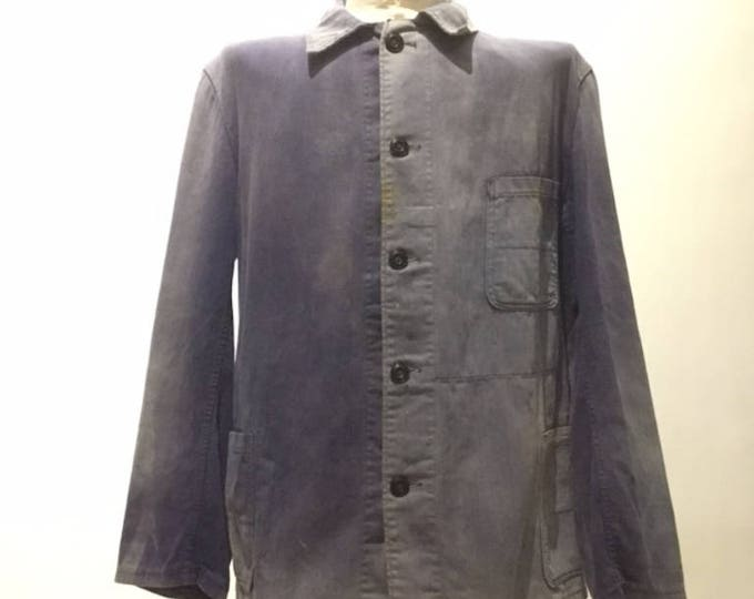 Vintage European Blue Cotton Button Up Distressed / Weathered Chore Coat (os-ewj-5)