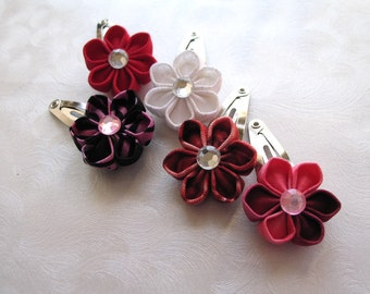 Clip Mix Medly Kanzashi Flower Snap Clips
