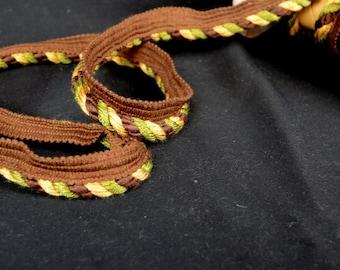 Green Brown Gold Lip Cord Fabric Trim | U16849