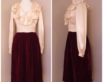 1950s High Fashion Classy Dress -  Vintage Cream Satin - Maroon Velvet Skirt - Theatre Dress