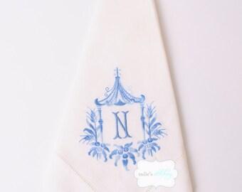 Framed Monogrammed Hemstitched Linen Dinner Napkins