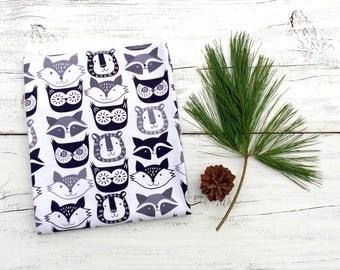 Fox Burp Cloth, Black and White Baby Burp Cloth, Gender Neutral Baby Gift, Woodland Baby Burp Cloth, Owl Burp Cloth, Baby shower Gift