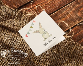 Hello Little One, Square Card, New Baby Card, Baby Card, Baby Boy Card, Baby Girl Card, New Baby, Baby Shower,
