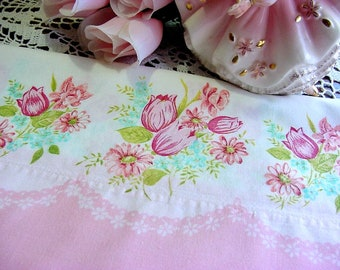 Vintage Pink Tulips Border Pillowcase -1950s Homemade Pink Aqua Floral Cotton Border Fabric -Standard Size Bed Pillow -Shabby Cottage Chic