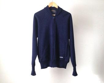 mid century navy blue CARDIGAN jacket sweater vintage 60s by SEA WOLF designer