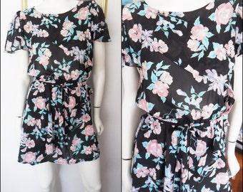Vtg.80s Black Floaty Chiffon Rose Print Flutter Sleeve Mini Dress.S/M.Bust up to 38.Waist 26-34.