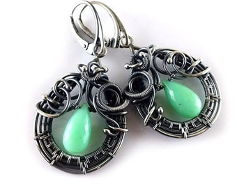 Wire wrapped earring, chrysoprase jewelry, gemstone earring, sterling dangle earring