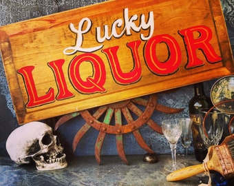 """Lucky Liquor Bar Sign / Hand Painted Wooden Sign / Antique Solid Wood Panel / Distressed / Chippy / 28"""" X 12.75"""""""