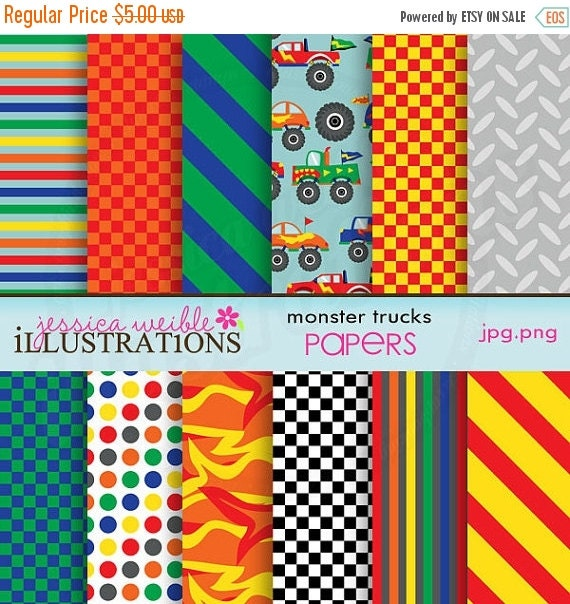 ON SALE Monster Trucks Cute Digital Papers for Card Design, Scrapbooking, and Web Design