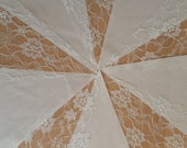 Ivory Lace &  Ivory fabric  Bunting Wedding Christening baby shower Vintage Shabby Chic Garland Choice of lengths
