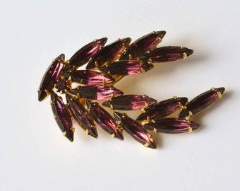 Purple Rhinestone Brooch Vintage Purple Brooch Valentine Gift