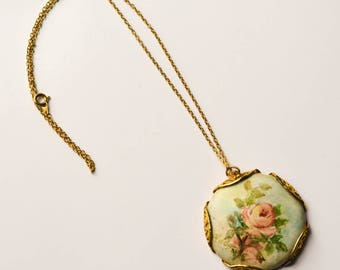 Painted Rose Necklace, Pendant, Handpainted Roses, Madge