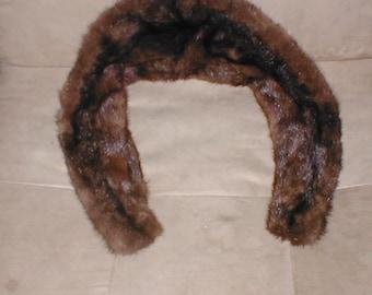 Authentic Vintage MINK Fur Collar Dark Brown Color